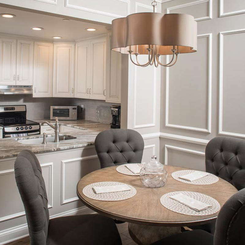 luxurious dining and kitchen area in an apartment at 10 wilmington place