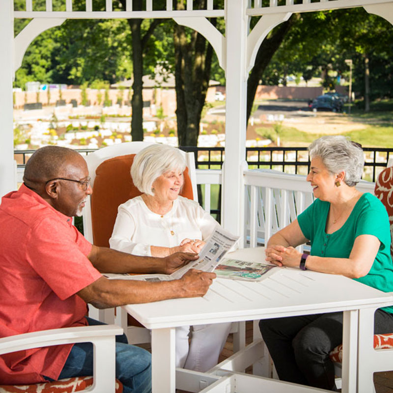 residents of 10 wilmington place enjoy each others company on the gazebo