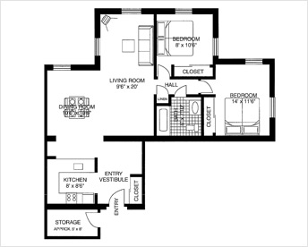 10 Wilmington Place 2 Bedroom floor plan option 1 of 12