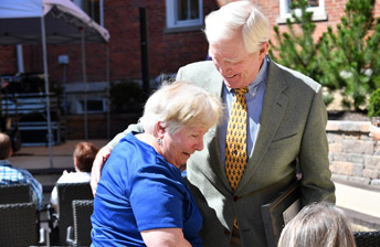 Barry greeting a 10 Wilmington Place Resident