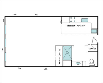 Studio Floor Plan at 10 Wilmington Place, Dayton, OH